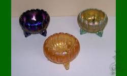 1e Prix: Leaf and Beads, Northwood. Trio coupe à roses. Bleu, orangé, aigue-marine opalin