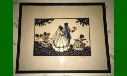 Mariage. Découpée finement et couleurs. Rare