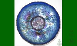 Water Lily, Fenton. Bol. Bleu, électrique. Spectaculaire
