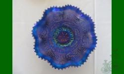 Embroidered Mums. Bleu, électrique