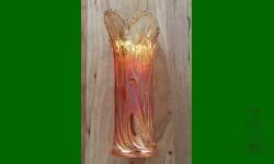 """Field Thistle, US Glass. Vase fantaisiste, 2 3/4"""" base. Orangé"""